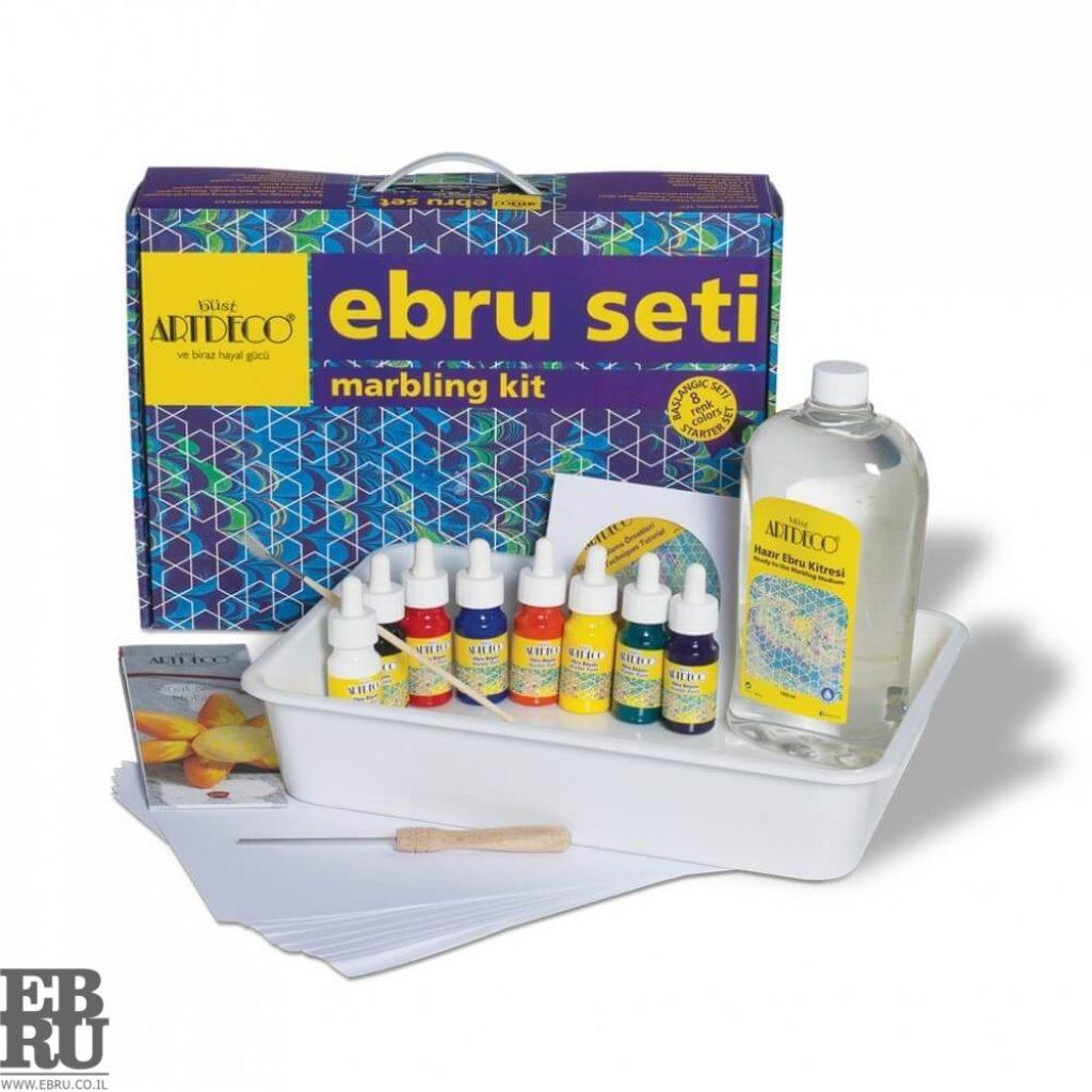 ערכת 8 צבעים Ebru marbling אמנות היצירה על פני המים ebru.co.il