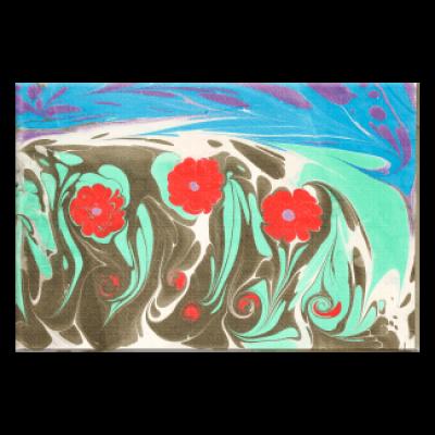 קנבס עם תמונת אמנות Ebru כלניות ליד המים